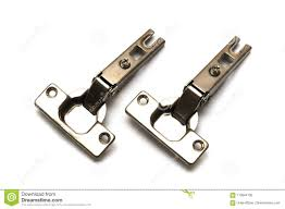 A Pair Of Stainless Steel Silver Kitchen Cabinet Door Hinges Stock