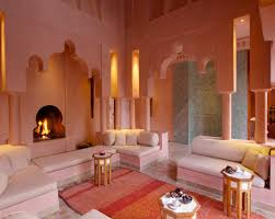 51 Inspiring Moroccan Living Rooms : 51 Relaxing Moroccan Living Rooms With  White Orange Red Sofa Pillow Carpet Fireplace High Ceiling Stone Floor  Table ...