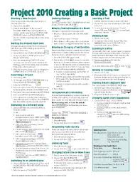 project management quick reference guide microsoft project 2010 quick reference guide creating a basic