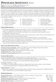 Physician Assistant Sample Resume Resume Sample For Cashier Store Physician Assistant Samples