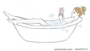 A woman reading a book in a bath - Stock Illustration [40493472] - PIXTA