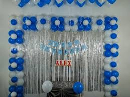blue white balloon decoration with