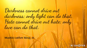 Image result for Darkness cannot drive out darkness; only light can do that. Hate cannot drive out hate; only love can do that.