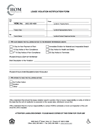 Lease Violation Form Fillable Online Lease Violation Notification Form Hom Inc Fax