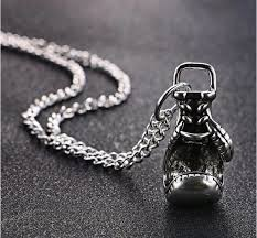 new boxing glove pendant chain necklace charm silver rocky mens gift uk