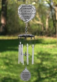 memorial windchime with heart and teardrop