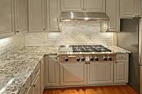 dark granite countertops with light backsplash exposed white brick black and white granite light grey kitchen