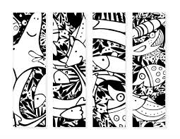 Coloring books for adults have more complicated patterns and more mature themes (like classic mandalas, mighty dragons, mother nature, exotic symbols, geometric figures etc.) than those designed for kids. Free Printable Coloring Bookmarks Of Fish For Kids In Our Spare Time