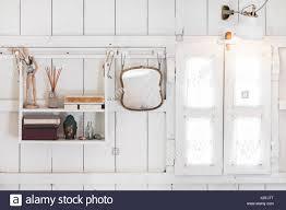 Innenraum Der Hellen Modernen Holz Haus Innen Vintage Fenster Mit