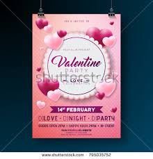 Party Flyer Best Vector Valentines Day Party Flyer Design With Typography And Heart