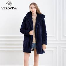 2018 veroviva a w fleece faux fur coat women thick warm fur regular fluffy navy blue outwear hoo casual loose coat from fitzgerald10 45 92 dhgate com