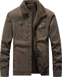 Vcansion <b>Men's</b> Classic Cotton <b>Jacket Coat Fleece</b> Lined Windproof ...