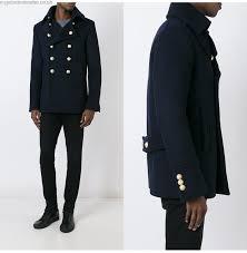 balmain pea coat navy men balmain x peacoats