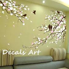 stick on wall art trees cherry blossom branches with birds vinyl wall sticker wall decal wall