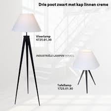 3 Poot Staande Lamp Zwart Met Linnen Wit Kap ø50cm