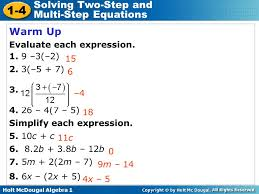 1 4 solving two step and multi step equations warm up evaluate each
