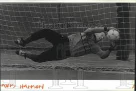 1990 Press Photo Mead soccer goalkeeper, Travis Hanson, in action - sp    Historic Images