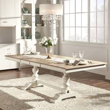 TRIBECCA HOME McKay Country Antique White Pedestal Extending Country Style Extendable Dining Table