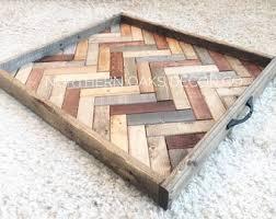 Oversized Ottoman Tray, Herringbone Tray, Wooden Serving Tray, Coffee Table  Tray, Farmhouse