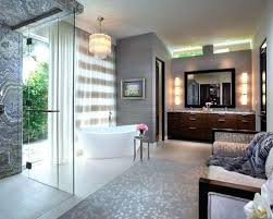chandelier over tub bathroom huge transitional master gray tile porcelain floor idea in with flat
