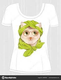 猫をデザインした T シャツ流行に敏感な猫メガネとシルクの瘢痕