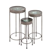 litton lane metal and glass plant stand tables set of 3