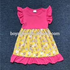 Persnickety Summer Child Frocks Clothes Boutique Remakes Toddler Girls Yellow Flowers Print Flutter Pearl Dresses With Ruffles Buy Persnickety