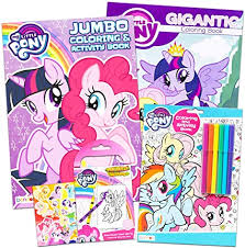 My little pony friendship is magic is an updated mlp television series that ran from 2010 to 2019. Amazon Com My Little Pony Coloring Book Super Set With Stickers 4 Mlp Books Over 375 Pages And 75 My Little Pony Stickers Total Featuring Rainbow Dash Fluttershy Pinkie Pie And More