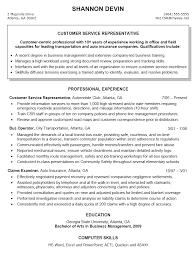 Resume Objective For Customer Service Representative Customer