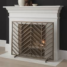 decorative fireplace screens intended for chevron brass screen reviews crate and barrel idea 7