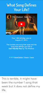 They have attraction relationship into wood. What Song Defiines Your Life The Weeknd Can T Fe Evo Your 14th Birthday Was On August 27 2015 The Number One Song That Week And The Song That Defines Your Life