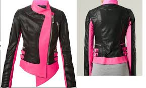 arrow women black and pink biker leather jacket sheep 9879797