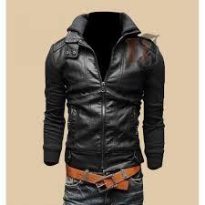 mens er biker style leather jacket for black jackets
