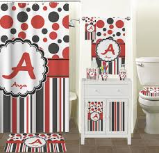 Red Black Dots Stripes Bathroom Accessories Set Personalized