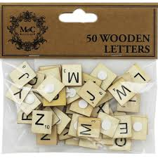 50 wooden square letters