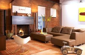 rug in front of fireplace monochromatic brown living room interior palette color with lined area rug set in front of contemporary brick fireplace plus dim