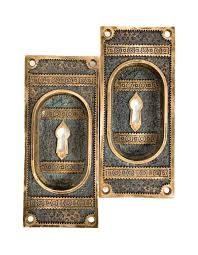 two matching oversized cast bronze ivy pattern interior residential salvaged chicago pocket door plates