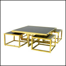 coffee table with gold finish structure