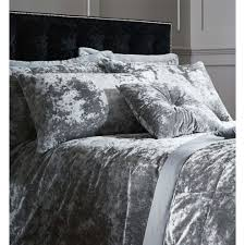 catherine lansfield crushed velvet super king duvet set silver 2