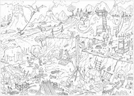 Desert with cacti and mountains. Landscapes Coloring Pages For Adults