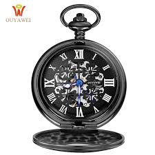 ouyawei pocket hand wind mechanical watch men steampunk vintage pendant watch necklace chain antique fob watches relogio bolso pocket watch s pocket