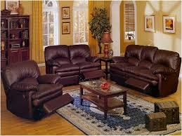 Living Room. . Brown Leather Sofa With Rectangular Brown Wooden Table And  Blue Areas Rug