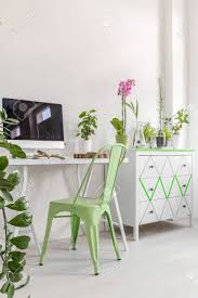 decorative desk chair. Stock Photo - White Flat Interior With Simple Desk, Chair, Computer, Commode And Decorative Houseplants Desk Chair