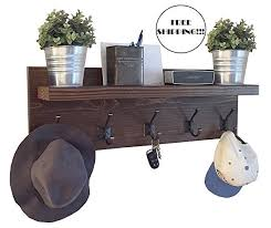 Rustic Coat Rack With Shelf Amazon Rustic Coat Rack with Floating Shelf and Bronze Hooks 42