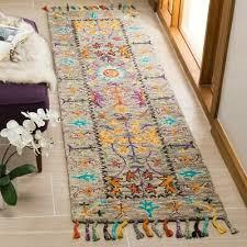 safavieh handmade blossom grey multi wool tassel area rug 2 x 3