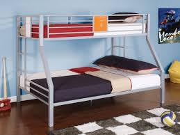 grey alumunium bunk bed on brown wooden floor connected by black ...