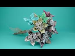 Paper Origami Flower Bouquet How To Make An Origami Flower Bridal Bouquet Tutorial Wedding Diy