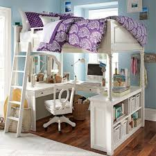 white full size loft beds with desk underneath