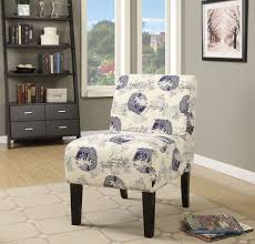Blue Pattern Accent Chair Classy ACME Ollano Dark Blue Fish Pattern Accent Chair Ollano Collection