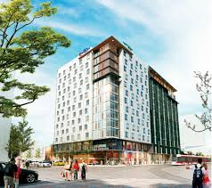 the hilton in east village is a 208 000 sq ft 14 y full service hotel that combines the brands of hilton garden inn calgary downtown